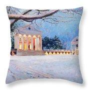 Rotunda On A Snowy Night Throw Pillow