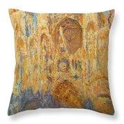 Rouen Cathedral, Facade, Sunset Throw Pillow