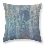 Rouen Cathedral, The Portal, Morning Light Throw Pillow