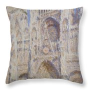 Rouen Cathedral, The Portal, Sunlight Throw Pillow