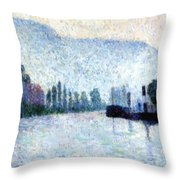 Rouen La Seine Et Les Collines Canteleu 1887 Throw Pillow