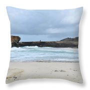 Rough Churning Waters Off The Coast Of Aruba Throw Pillow