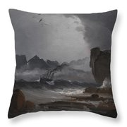 Rough Sea With A Steamer Near The Coast Of Norway Throw Pillow