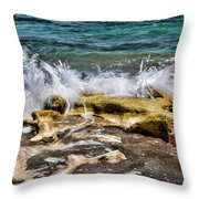 Rough Seas At Blowing Rock Throw Pillow