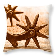 Rough Spurs - Sepia Throw Pillow