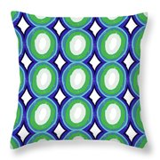 Round And Round Blue And Green- Art By Linda Woods Throw Pillow