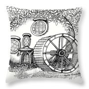 Round Fairy House And Waterwheet Throw Pillow