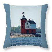 Round Island Lighthouse Throw Pillow