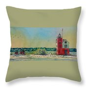 Round Island Lighthouse, Lighthouse Painting, Lighthouse Print, Mackinaw Island Throw Pillow