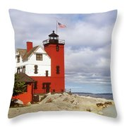 Round Island Lighthouse Throw Pillow by Sally Sperry