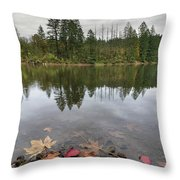 Round Lake At Lacamas Park In Fall Throw Pillow
