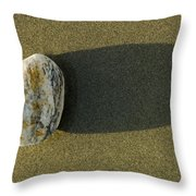 Round Rock And Shadow On Sand Dollar Throw Pillow