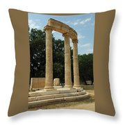 Round Temple At Olympia Throw Pillow