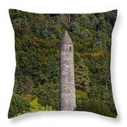 Round Tower At Glendalough Throw Pillow