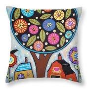 Round Tree Throw Pillow