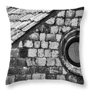 Round Window - Black And White Throw Pillow