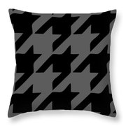 Rounded Houndstooth Black Pattern 03-p0123 Throw Pillow