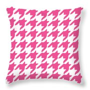 Rounded Houndstooth With Border In French Pink Throw Pillow