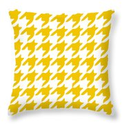 Rounded Houndstooth With Border In Mustard Throw Pillow