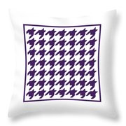 Rounded Houndstooth With Border In Purple Throw Pillow