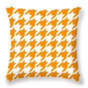 Rounded Houndstooth With Border In Tangerine Throw Pillow