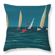 Rounding The Marker Throw Pillow
