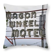 Route 66 - Wagon Wheel Motel Throw Pillow