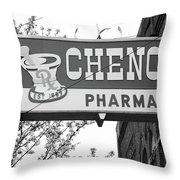 Route 66 - Chenoa Pharmacy Bw Throw Pillow