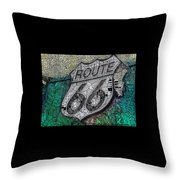 Route 66 Digital Stained Glass Throw Pillow