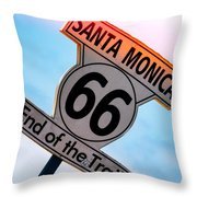 Route 66 End Of The Trail Throw Pillow by Michael Hope