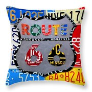 Route 66 Highway Road Sign License Plate Art Throw Pillow