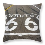 Route 66 Highway Sign Throw Pillow