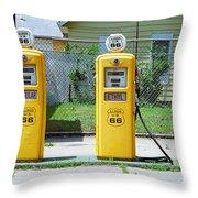 Route 66 - Illinois Gas Pumps Throw Pillow