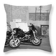Route 66 Motorcycles Bw Throw Pillow