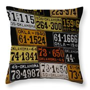 Route 66 Oklahoma Car Tags Throw Pillow