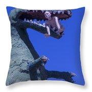 Route 66 Roadside Dinosaur Throw Pillow