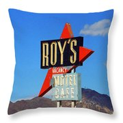Route 66 - Roy's Of Amboy California Throw Pillow