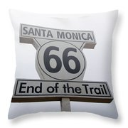 Route 66 Santa Monica- By Linda Woods Throw Pillow