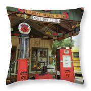 Route 66 - Shea's Gas Station Throw Pillow