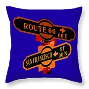 Route 66 Street Sign Stylized Colors Throw Pillow