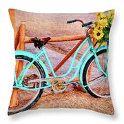 Route 66 Vintage Bicycle Throw Pillow