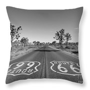 Route 66 With Joshua Trees In Black And White Throw Pillow