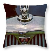 Rover Radiator And Hood Ornament Throw Pillow