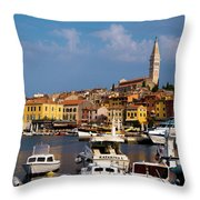 Rovinj Harbour Throw Pillow