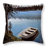 Row Boat In The Fog Throw Pillow