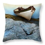 Row Boat On Shore Throw Pillow