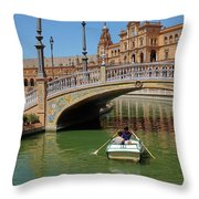 Row Boating In Seville Throw Pillow