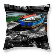 Row Boats At Mudeford Throw Pillow