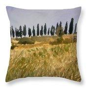 Row Of Cypress Trees, Tuscany Throw Pillow