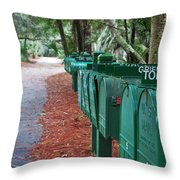 Row Of Green Mailboxes7426 Throw Pillow